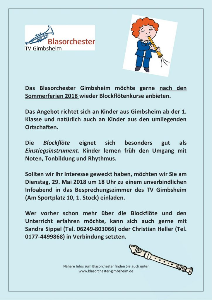 Neue Blockflötenkurse beim Blasorchester Gimbsheim